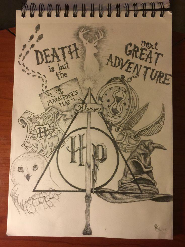 Collage con las reliquias de la muerte