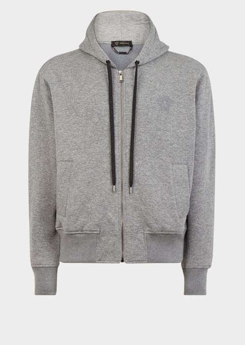 Versace Cashmere Blend Hooded Sweatshirt for Men | Official Website. Fine cotton cashmere blend, crewneck sweatshirt with embroidered Medusa head detail.