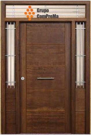 Puerta entrada vanguardista en madera de iroko con for Presupuesto puertas de madera