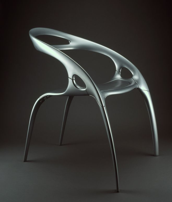 Ross lovegrove designed the magnesium aluminum and polycarbonate go chair in 1999