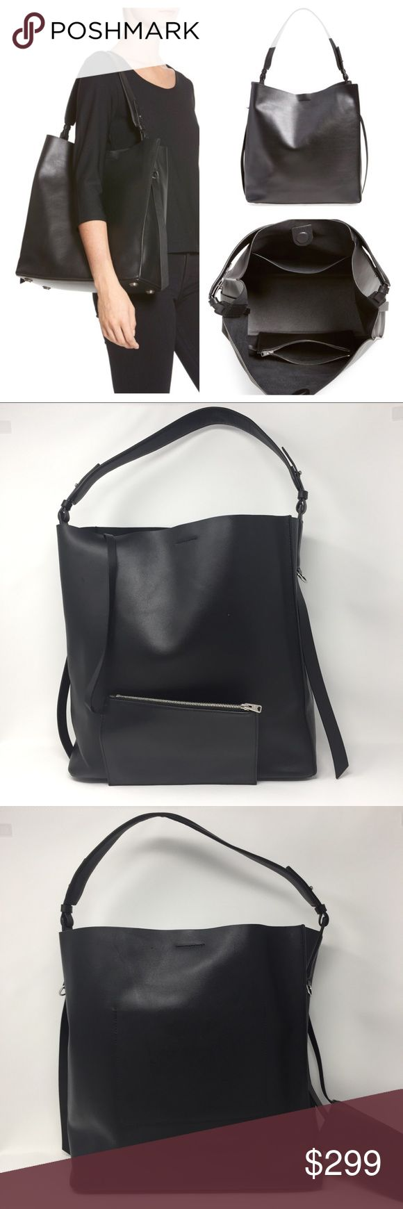 """ALLSAINTS PARADISE NORTH/SOUTH TOTE BAG AUTHENTIC AllSaints Tote. Approx 13.5""""Wx14""""Hx5.5""""D. Strap drop 8.5-9"""". Pouch: 8""""Wx5.5""""Hx.25""""D. Smooth black calfskin w/silver hardware. Minimalist style tote w/ slouchy silhouette. Tethered interior zip pouch. Magnetic tab closure, interior slip pocket, feet at base. Unlined. Very good pre-owned condition. This was used regularly & displays wear to that effect but no major flaws, rips, stains, etc. There are some marks to exterior leather (see pix)…"""