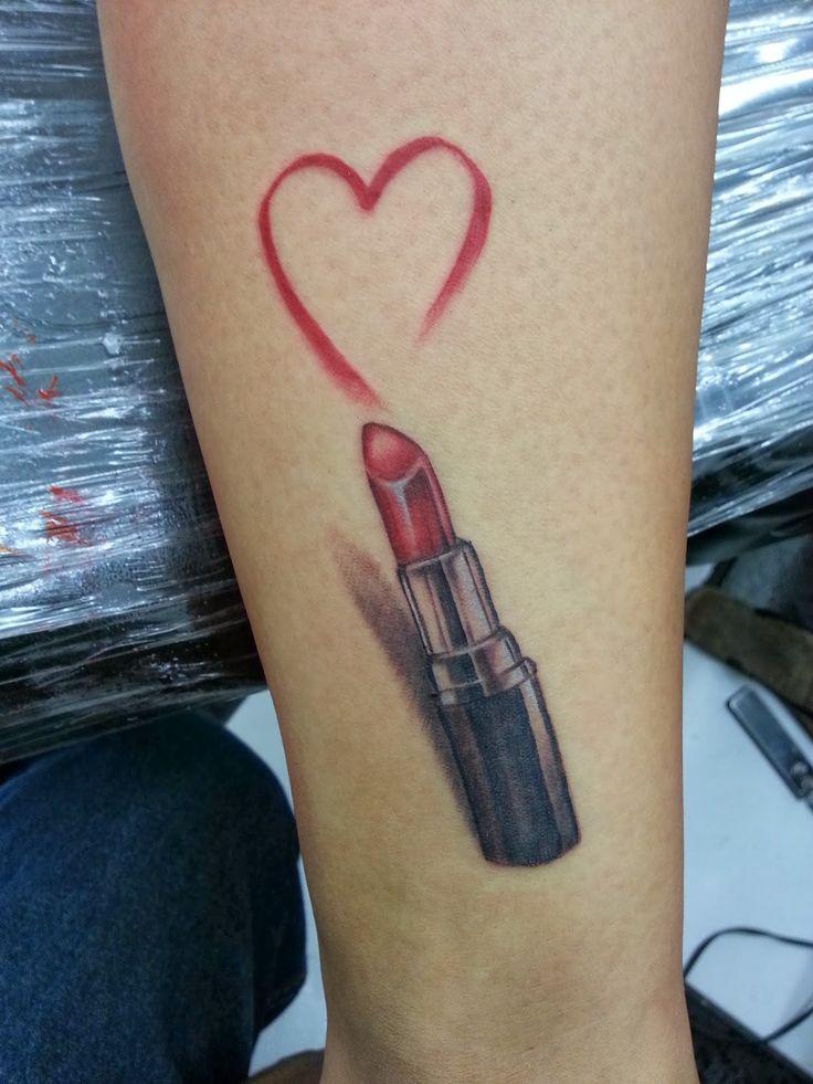 3D Red Lipstick Heart Tattoo