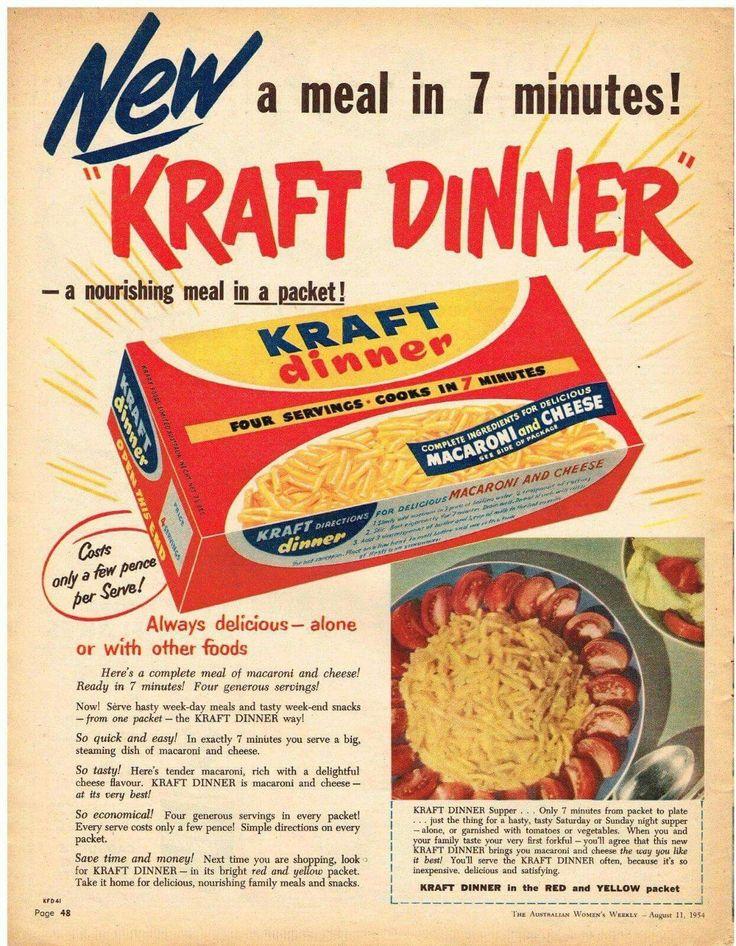 Kraft Dinner ~ Australia 1954.