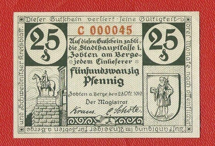 Germany Zobten Berge 25 pfennig 1919 banknote notgeld antique