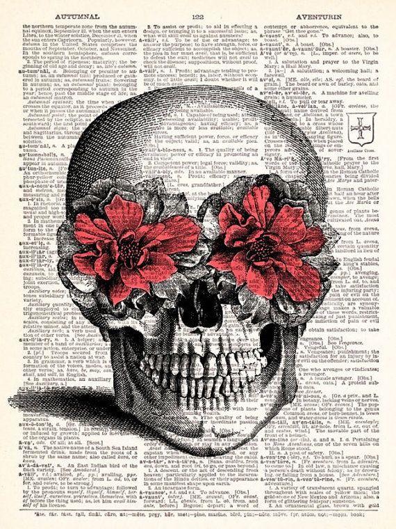 BOGO Pink Flower Skull Vintage Dictionary por TheRekindledPage