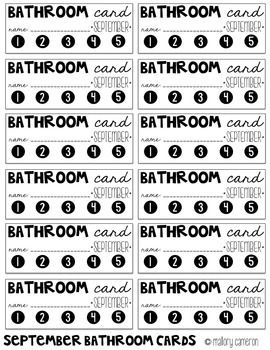 Bathroom and Water Punch Cards
