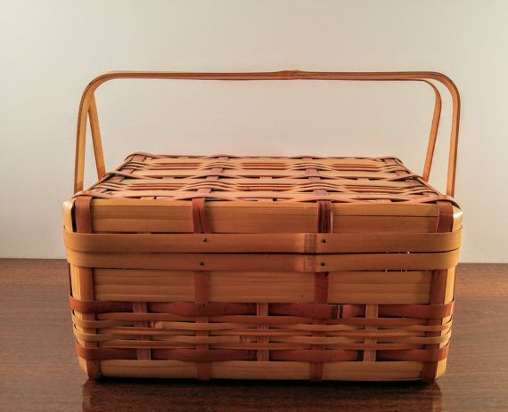 Vintage Japanese Rattan/Bamboo Sewing Basket with Folding Handles & Hinged Lid. Asian Decor. Picnic, Lunch, Accessory, Craft Storage Box.