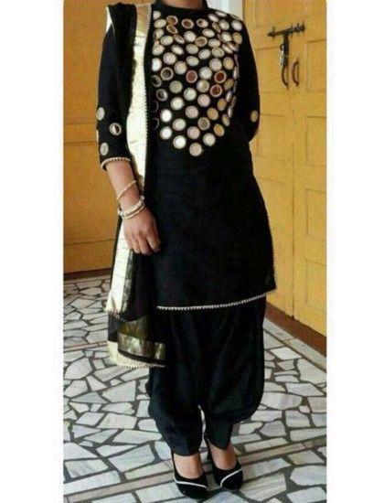 The Punjabi style Mirror Work Designer Patiala Black Colour salwar suit