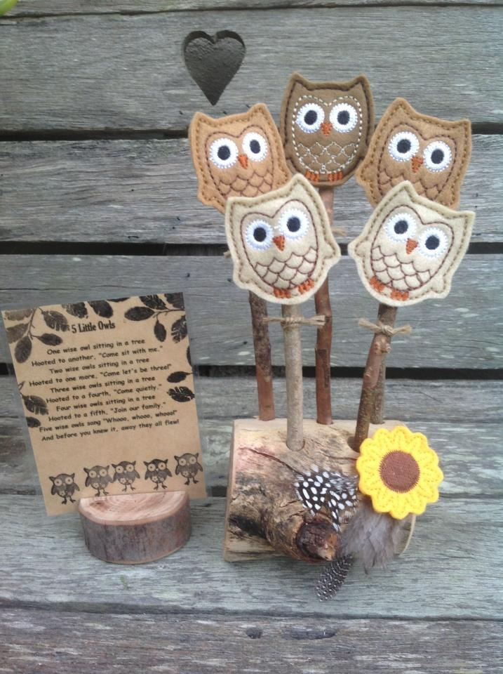 5 Little Owls stick puppets. Check more out on my facebook page  http://www.facebook.com/Fingadingadoo