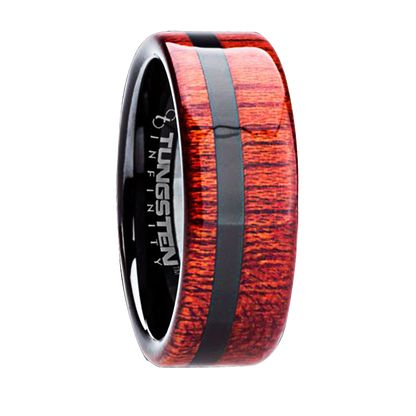 want something super stylie and unique for your love? check out this sexy band!   8 mm Tungsten Carbide with Bloodwood/Black Inlay  http://www.mensweddingbands.com/8-mm-tungsten-carbide-with-bloodwood-black-inlay-b112m/