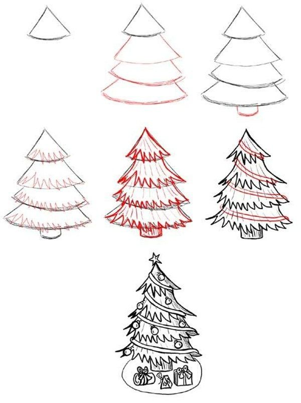 How To Draw A Tree Step By Step Image Guides Christmas Tree Drawing Easy Christmas Tree Drawing Christmas Drawing