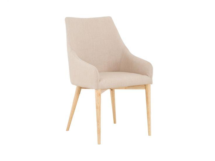 SALLY Stol Beige - Med elegant, retropräglad formgivning och neutral tygklädsel matchad av ben i ljust trä är SALLY en vinnare i många sammanhang och miljöer.