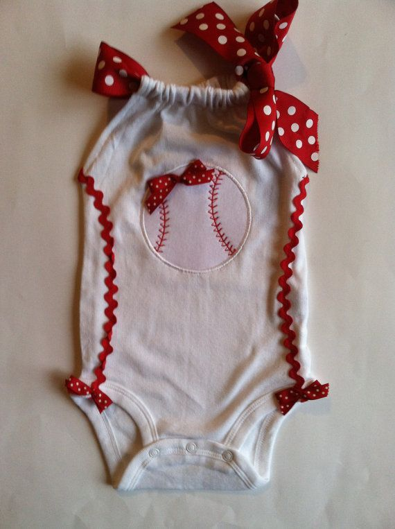 Baby Girls Baseball Romper, bodysuit. For Your Little baseball Fan. MLB on Etsy, $24.00