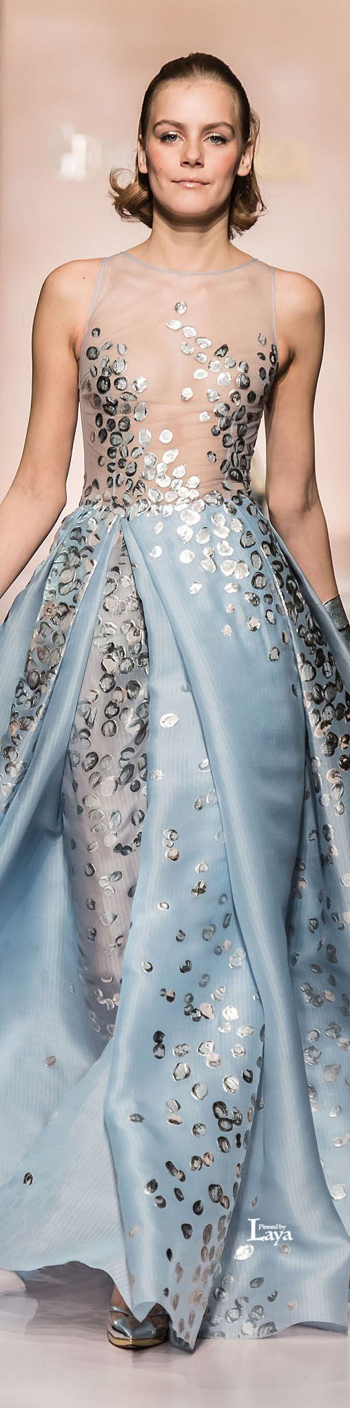 Georges Chakra Couture Spring Gown Pale Blue X