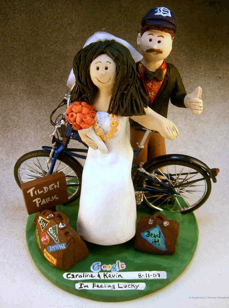 Athlete's Wedding Cake Topper by http://www.magicmud.com   1 800 231 9814  magicmud@magicmud.com  http://blog.magicmud.com  https://twitter.com/caketoppers         https://www.facebook.com/PersonalizedWeddingCakeToppers  #bicycle#bike#cyclist#mountain_bike#wedding #cake #toppers  #custom #personalized #Groom #bride #anniversary #birthday#weddingcaketoppers#cake toppers#figurine#gift#wedding cake toppers