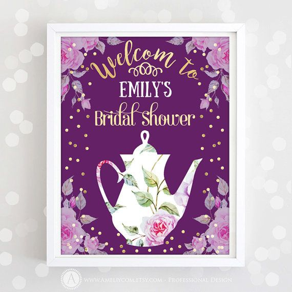Welcome Sign Bridal Shower Printable Purple Gold by AmeliyCom https://www.etsy.com/listing/276760562/welcome-sign-bridal-shower-printable