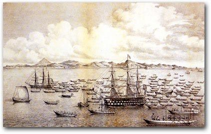 Commodore Biddle's ships anchored in Edo Bay in 1846 and surrounded by small Japanese boats