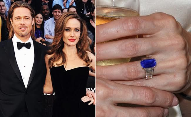 Angelina Jolie's Engagement Ring Envisioned With A Blue Sapphire