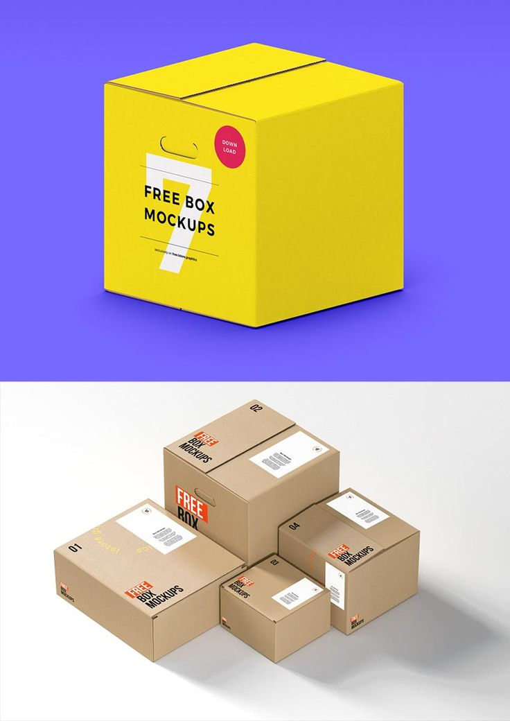 Seven Box Mockups Psd Free Freebie