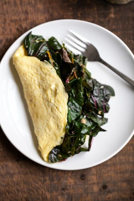 Garlicky Greens and Goat Cheese Omelette. Simple, healthy, and so ...