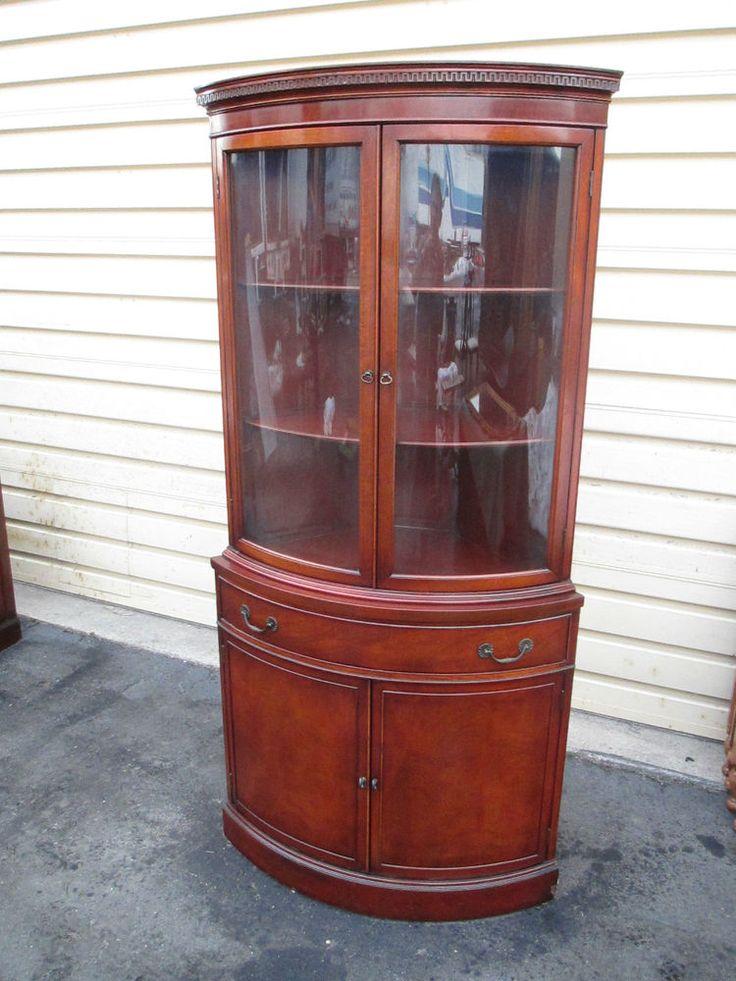 53191 Antique Mahogany Bow Glass Corner China Cabinet