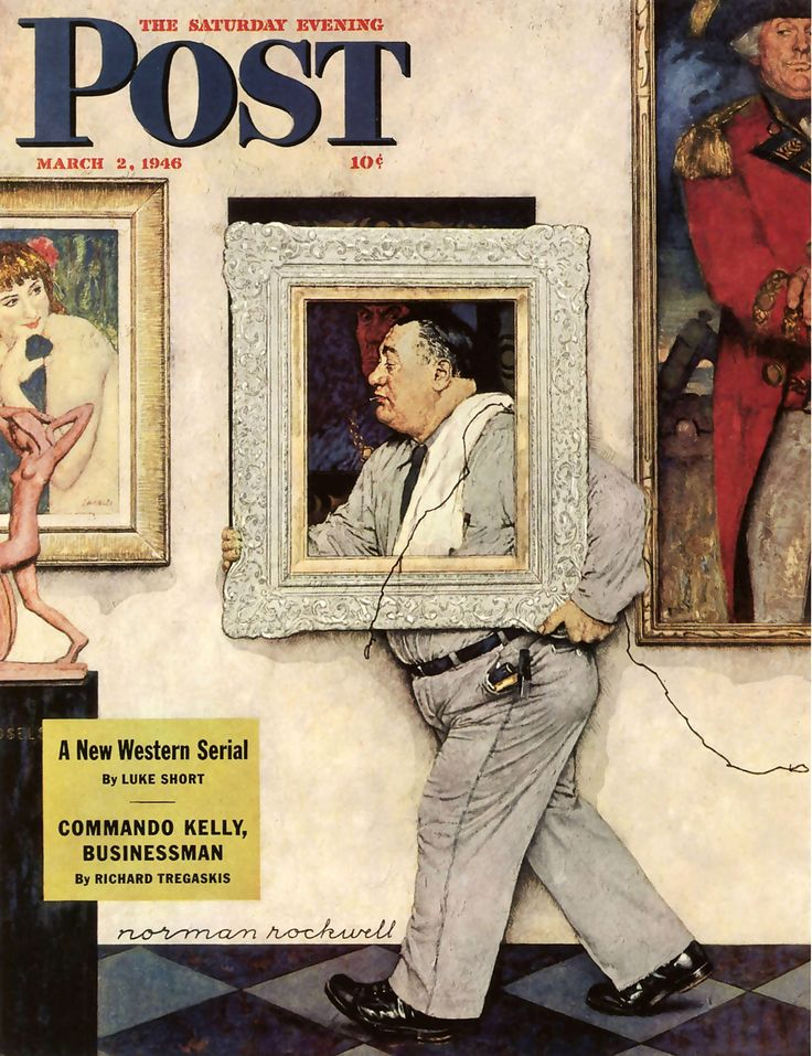 Picture Hanger or Museum Worker. Saturday Evening Post, March 2, 1946 (Norman Rockwell)