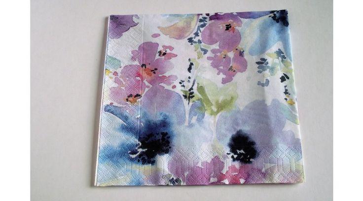 Lilás, kékes virágos szalvéta - KreatívHobbyDekor webáruház