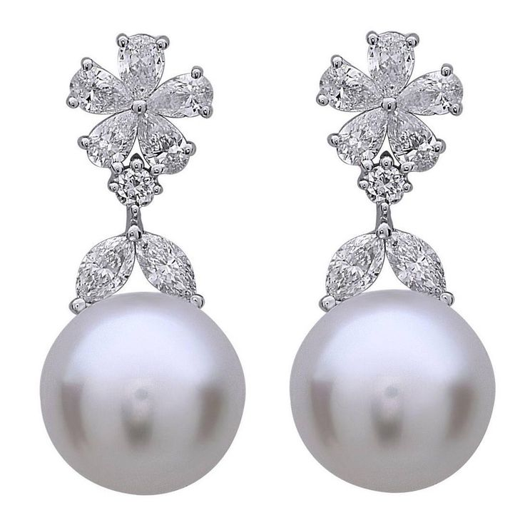Pearl Diamond Gold Drop Earrings | From a unique collection of vintage drop earrings at https://www.1stdibs.com/jewelry/earrings/drop-earrings/
