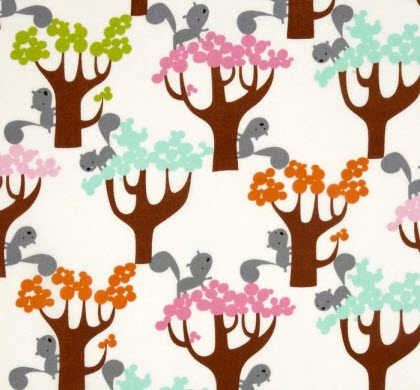 """""""Squirrel in Trees"""" Fabric by David Walker, part of """"Get Together"""" collection from Free Spirit"""