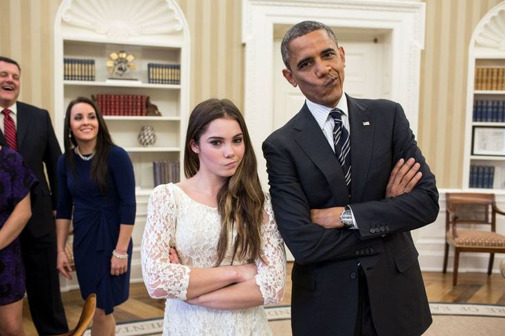 """Making the """"not impressed"""" face with gymnast McKayla Maroney at the White House in 2012"""