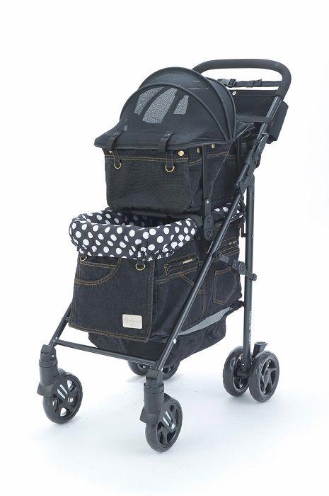 Rakuten Mother Cart (mother cart) Rapure black denim (front mesh new) upper and lower set [small dog carry bag / carry cart / pet cart / pet buggy / dog supplies / Free Shipping: TIARA PETS - price¥ 56,731 (including tax 61,269 yen) @0.078 HK$4779
