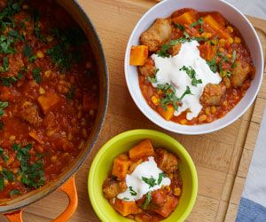 Sausage, bean and sweet potato casserole (add herb)