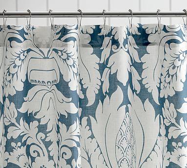 damask linen shower curtain dark blue