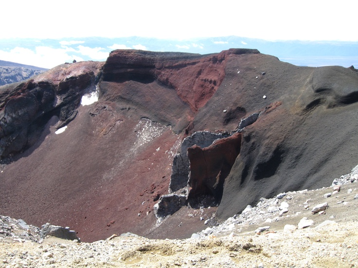 Looking down into Red Crater and a vent