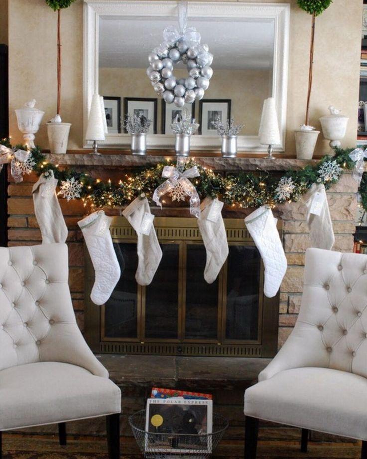 1088 best Christmas Mantels images on Pinterest Christmas - christmas decorations for mantels