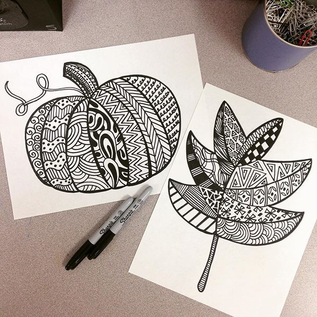 A new rotation and 3 days left before maternity leave means easy fall Zentangle…