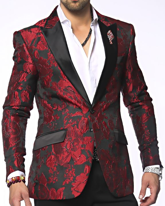 Angelino Fashion Blazer, floral woven fabric with fully lined constructed blazer. Front single two buttons, double vent, and four kissing sleeve buttons. An attractive fabric that can easily be dressed up or down.