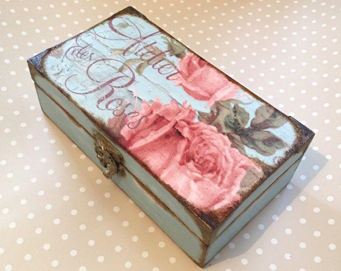 Decoupage Jewellery Box, Shabby Elegance, Chocolate Box, Make Up Box, Cottage Chic, Bedroom Box, Vintage, Parisian, Victorian,Bohemian Rose
