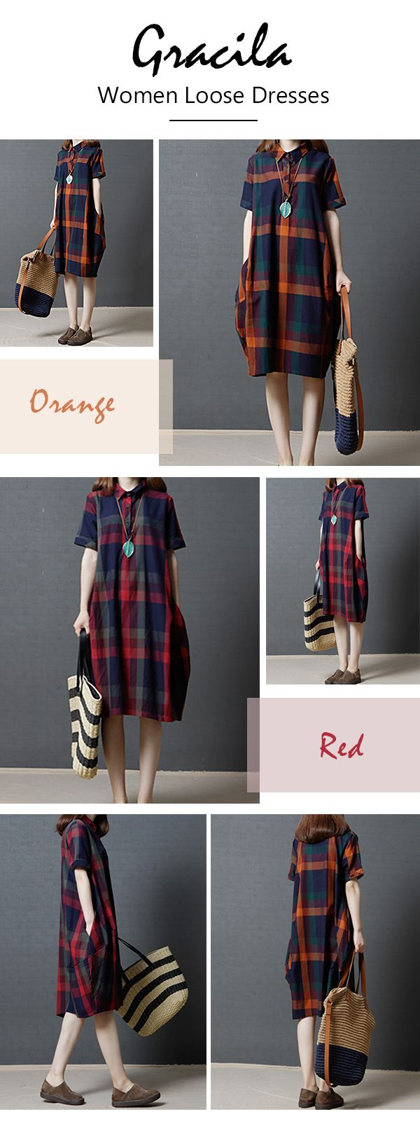 US$ 22.18 Gracila Plaid Short Sleeve Lapel Vintage Women Loose Dresses