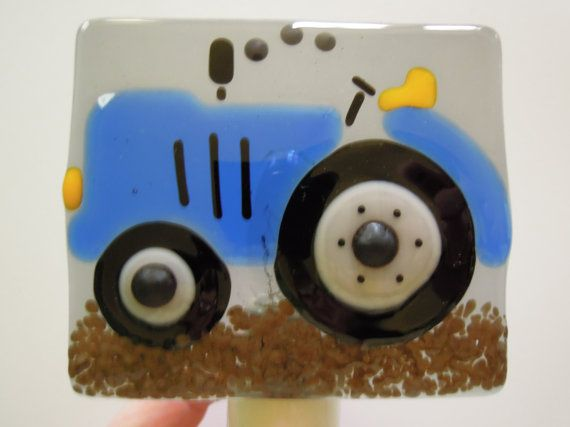 Fused Glass Blue Tractor Night Light by LaGlasSea on Etsy