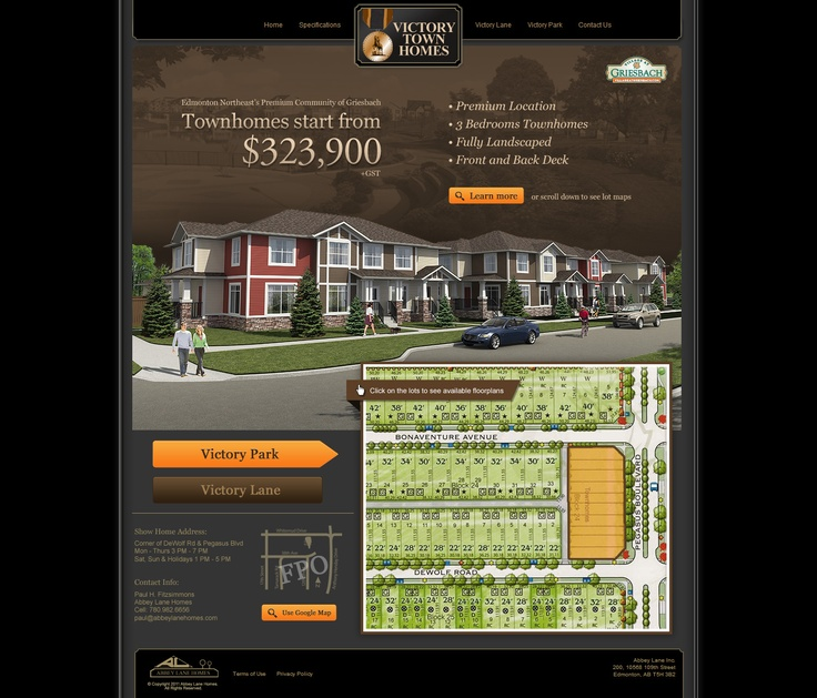 Victory Townhomes for Abbey Lane Homes - New promotional landing page (Jan/2013)