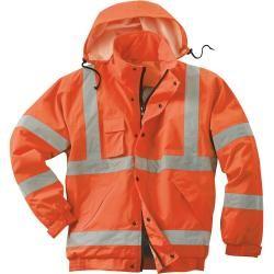 Scheibler Warnschutzjacke / Weste Flash – Winddichte Softshelljacke mit abnehmbaren Ärmeln – orange/