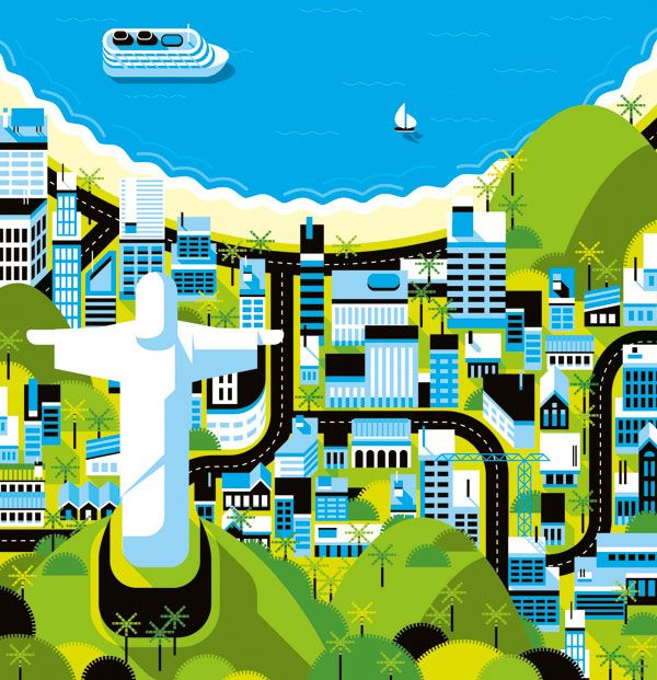 RIO DE JANEIRO - Cities, Roads & Factories #2 #illustration #map