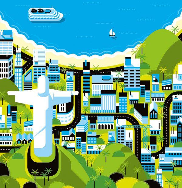 RIO DE JANEIRO - Cities, Roads & Factories #2 #illustration #map