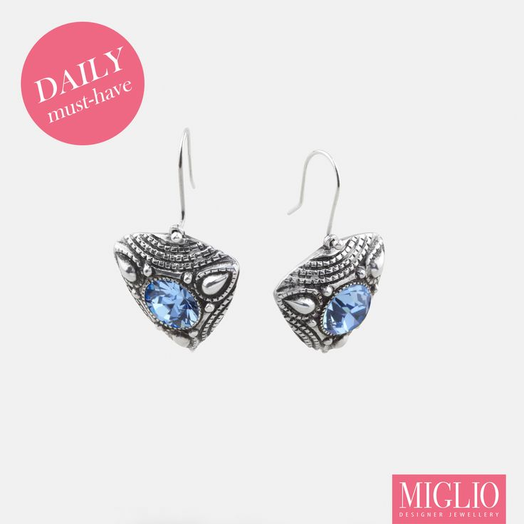 #pastel #blue #swarovksi crystal #earrings from www.miglio.com