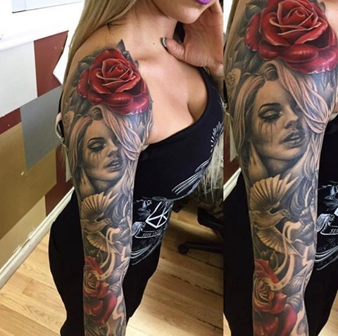 Beautiful sleeve completed by @manuel_valenzuela #inked #inkedmag #urbanink #tattoo #sleeve #beautiful