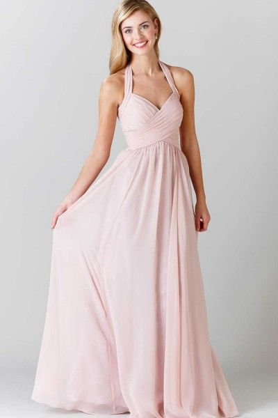 Gothic Chiffon Sleeveless Floor-length A-line Ruched Halter Long Bridesmaid Dresses