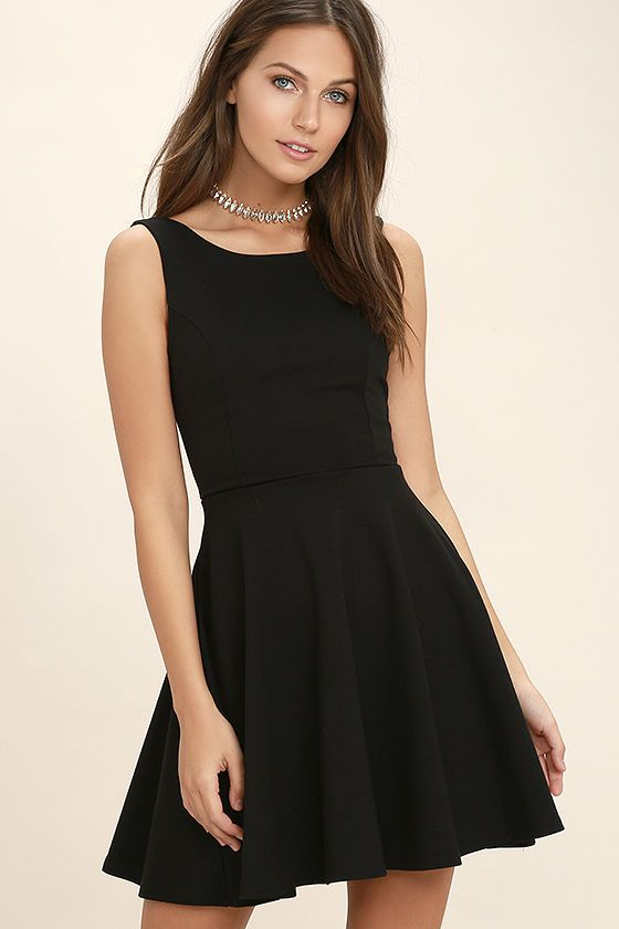 Lulus Exclusive! Don't leave your plans hanging on the line, slip on the Call Me Anytime Black Backless Skater Dress and be ready in no time! Medium-weight stretch knit shapes this classic skater dress with a rounded neckline, princess-seamed bodice, and a skater skirt. Low-dipping back. Hidden back zipper.