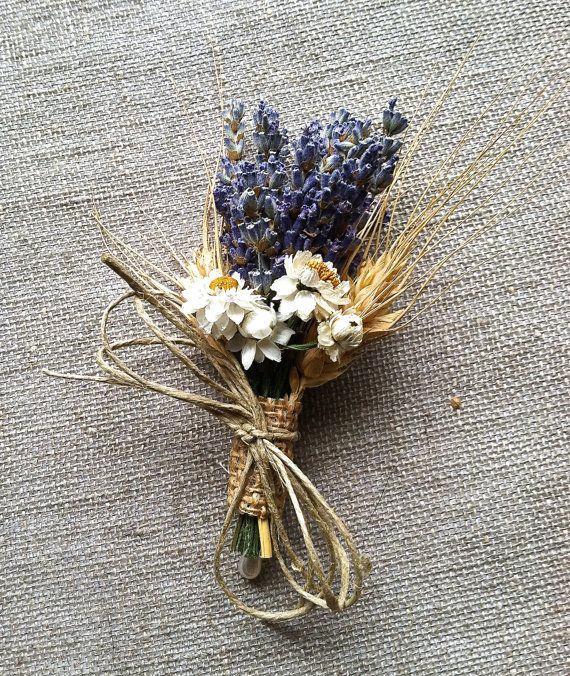 10 Wedding Boutonnieres or Corsages of Lavender Wheat and