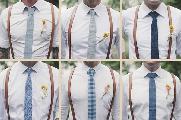 Groomsmen with suspenders and ties in similar color. peach instead of navy
